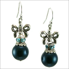 Holiday Bow Petrol Pearl Earrings