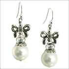 Holiday Bow White Pearl Earrings