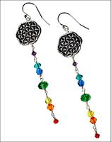 Flower of Life Chakra Suncatcher Earrings