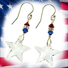 Red, White and Blue Swarovski Star Earrings