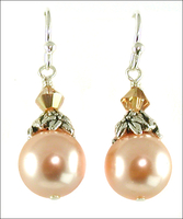 Peachy Pearl and Sunny Crystal Earrings