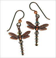 Copper Dragonfly Crystal Earrings