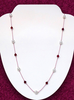 Floating Garnet and Pearl Necklace