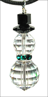 Crystal Disco Emerald Snowman Necklace