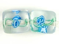 Czech Handmade Lampwork square 10 x 10mm clear with blue flowers