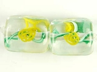 Image Czech Handmade Lampwork square 10 x 10mm clear with yellow flowers