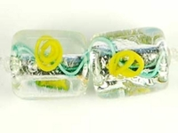 Czech Handmade Lampwork square 10 x 10mm silver foil with yellow flowers