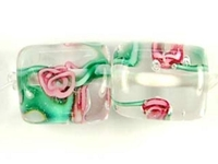 Image Czech Handmade Lampwork square 10 x 10mm clear with pink flowers