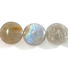 Labradorite 12mm coin light grey with blue