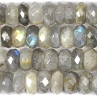 Labradorite 8mm faceted rondell grey