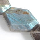 Labradorite 25 x 30mm hexagon light grey with blue