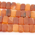 Carnelian Agate 10 x 20mm double drill rectangle deep orange