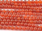 Carnelian Agate 8mm round deep orange