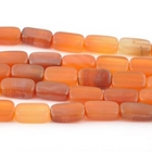 Carnelian Agate 8 x 14mm rectangle deep orange