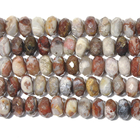 Image Laguna Lace Agate 8mm faceted rondell swirly browns, greys and reds