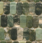 Moss Agate 10 x 20mm double drill rectangle mottled green