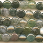 Moss Agate 12mm coin mottled green