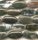 Moss Agate 15 x 30mm oval mottled green