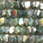 Moss Agate 7 x 12mm faceted nugget mottled green