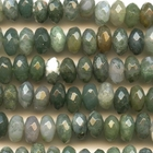 Moss Agate 8mm faceted rondell mottled green