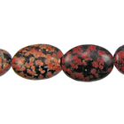 Mexican Red Snowflake Jasper 10 x14mm flat oval reds, blacks, oranges and browns