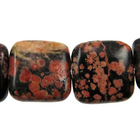 Mexican Red Snowflake Jasper 12mm square reds, blacks, oranges and browns