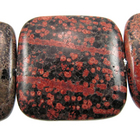 Mexican Red Snowflake Jasper 30mm flat square reds, blacks, oranges and browns