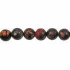 Mexican Red Snowflake Jasper 4mm round reds, blacks, oranges and browns