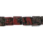 Mexican Red Snowflake Jasper 6mm cube reds, blacks, oranges and browns