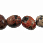 Mexican Red Snowflake Jasper 8 x 10mm nugget reds, blacks, oranges and browns