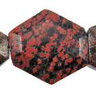 Mexican Red Snowflake Jasper 25 x 30mm faceted hexagon reds, blacks, oranges and browns