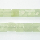 New Jade 12mm faceted square pale green