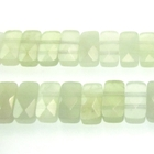 New Jade 5 x 10mm faceted double drill rectangle pale green