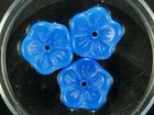 Czech Pressed Glass 9mm buttercup flower blue opal opalescent
