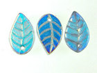 Czech Pressed Glass 7 x 12mm leaf alexandrite (blue to purple) transparent iridescent