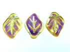 Czech Pressed Glass 9x12mm leaf light gold transparent iridescent