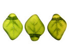 Czech Pressed Glass 9x12mm leaf olive green transparent matte