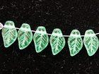 Czech Pressed Glass 6 x 10mm leaf soft green transparent