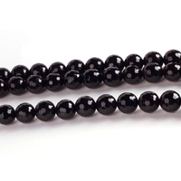 Black Onyx 8mm faceted rondell black