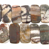 Outback Wood Jasper 10 x 20mm double drill rectangle mixed browns