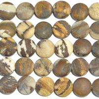 Outback Wood Jasper 12mm coin mixed browns