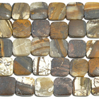 Outback Wood Jasper 12mm square mixed browns