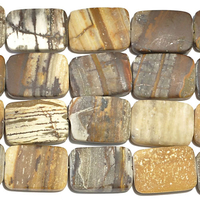 Outback Wood Jasper 13 x 18mm rectangle mixed browns