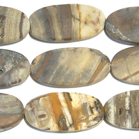 Outback Wood Jasper 15 x 30mm oval mixed browns