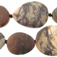 Outback Wood Jasper 20 x 30mm free form oval mixed browns