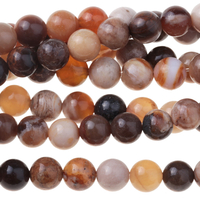 Image Wood Opalite 6mm round mixed beiges and browns