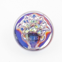 Czech Glass Buttons light amethyst purple flowers in vase with glass shank 18mm
