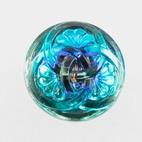 Czech Glass Buttons light and dark blue 3 intertwining circles with glass shank 23mm