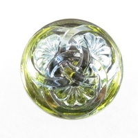 Czech Glass Buttons light green 3 intertwining circles with glass shank 23mm