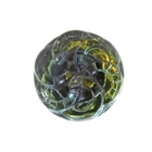 Czech Glass Buttons green vitrail spiral button with glass shank 14mm